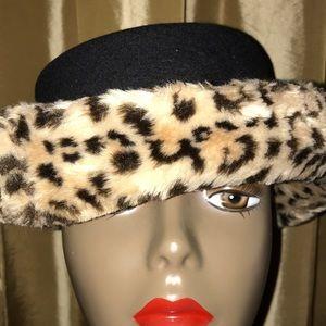 Vtg Bollman Doeskin 100% Wool Rolled Brim Faux Fur